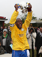 The Clapton captain lifts the trophy - Clapton Rangers vs Eastwood Sports - London FA Sunday Junior Cup Final at Cockfosters FC  20/04/08 - MANDATORY CREDIT: Rob Newell/TGSPHOTO - IMAGES USED WILL BE INVOICED AT STANDARD RATES. Gavin Ellis/TGSPHOTO, 27 Plaiters Way, Braintree, Essex CM7 3LR - Tel: 0845 0946026 - BACS details for payment: Gavin Ellis - A/C 31840312 Sort Code 40-17-08. NO UNPAID USE..