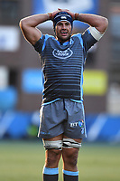 George Earle of Cardiff Blues in action during the Heineken Champions Cup Round 2 match between the Cardiff Blues and Glasgow Warriors at Cardiff Arms Park Stadium in Cardiff, Wales, UK. Sunday 21 October 2018