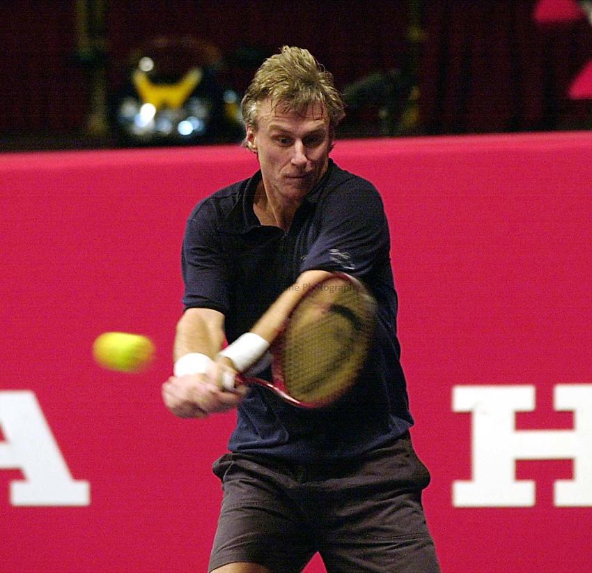 Photo Ken Brown.8.12.00 Honda Challenge at the Royal Albert Hall.Bjorn Borg in his matchagainst McEnroe.