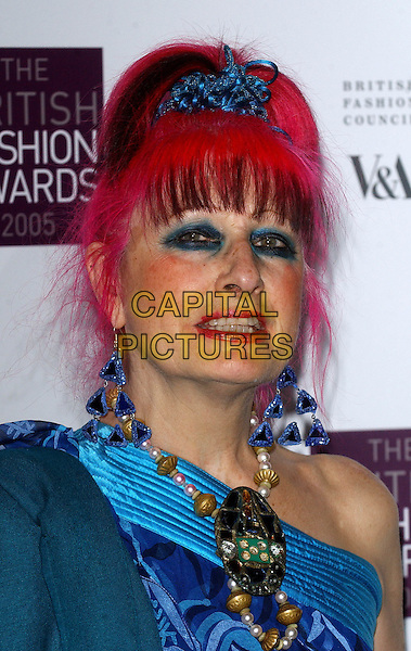 ZANDRA RHODES .The 2005 British Fashion Awards at the V&A Museum, London, UK..November 10th, 2005.Ref:BEL.headshot portrait pink hair make-up make up beaded necklace jewellery earrings.www.capitalpictures.com.sales@capitalpictures.com.© Capital Pictures.