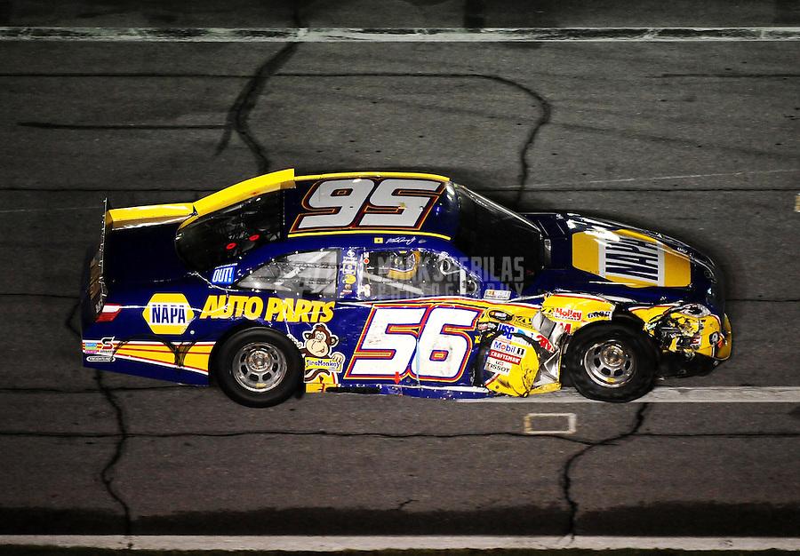 Jul. 3, 2010; Daytona Beach, FL, USA; NASCAR Sprint Cup Series driver Martin Truex Jr. (56) after crashing during the Coke Zero 400 at Daytona International Speedway. Mandatory Credit: Mark J. Rebilas-