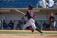 Lake Elsinore Storm Buddy Reed (23) follows through on his swing against the Rancho Cucamonga Quakes at LoanMart Field on April 22, 2018 in Rancho Cucamonga, California. The Storm defeated the Quakes 8-6.  (Donn Parris/Four Seam Images)