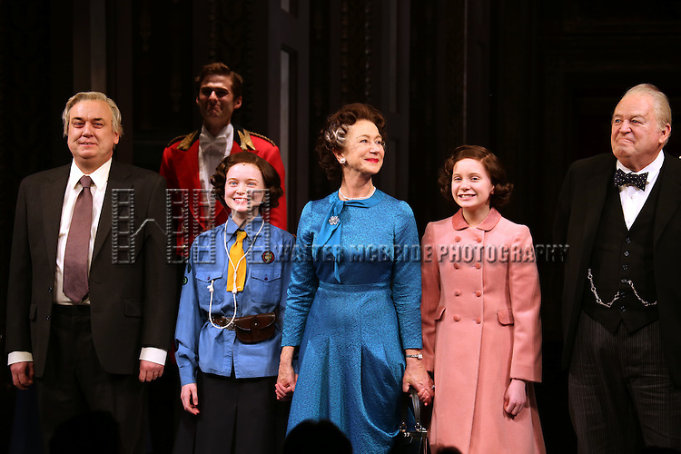 Richard McCabe, Sadie Sink, Helen Mirren, Elizabeth Teeter and Dakin Matthews take a bow during curtain call for the Broadway Opening night of 'The Audience' at the Gerald Schoenfeld Theatre on March 8, 2015 in New York City.