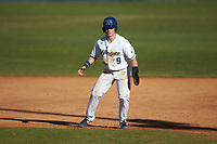 McCann Mellett (9) of the Wingate Bulldogs takes his lead off of first base against the Concord Mountain Lions at Ron Christopher Stadium on February 2, 2020 in Wingate, North Carolina. The Mountain Lions defeated the Bulldogs 12-11. (Brian Westerholt/Four Seam Images)