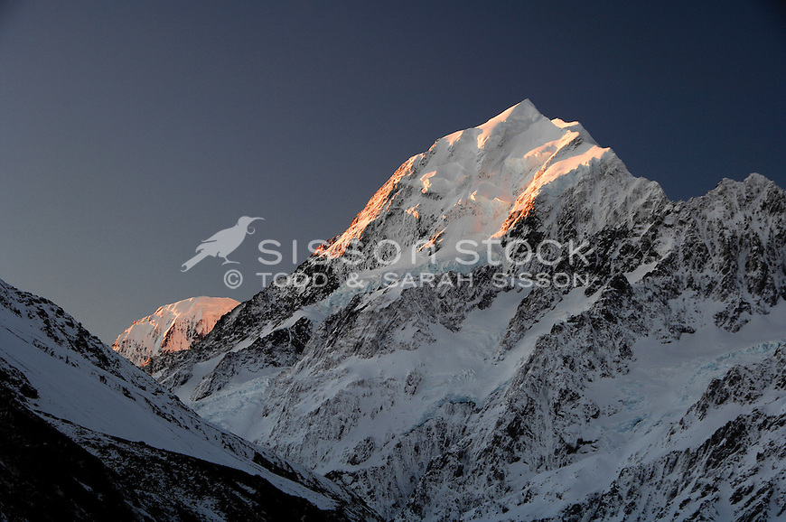 Last light at sunset on Mt Cook / Aoraki, in the South Island