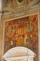 """Europe/Italie/Emilie-Romagne/Bologne : Palace """"Re Enzo"""" - Salon du Podesta - Détail des peintures murales"""