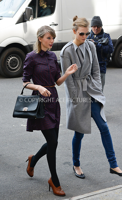 WWW.ACEPIXS.COM<br /> <br /> April 3 2014, New York City<br /> <br /> Taylor Swift and Karlie Kloss walk in Tribeca on April 3 2014 in New York City<br /> <br /> By Line: Curtis Means/ACE Pictures<br /> <br /> ACE Pictures, Inc.<br /> tel: 646 769 0430<br /> Email: info@acepixs.com<br /> www.acepixs.com