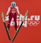 Maja Vtic of Slovenia jumps during the Women's Normal Hill Individual training session of the 2014 Sochi Olympic Winter Games at Russki Gorki Ski Juming Center on February 9, 2014 in Sochi, Russia. Photo by Victor Fraile / Power Sport Images