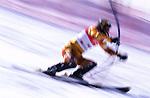 Slalom di sci alpino, disciplina olimpica invernale. Slalom alpine skiing, winter olympic discipline.