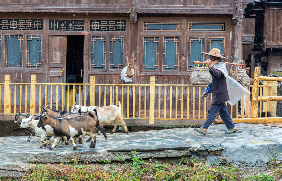 Huanggang, Guizhou, China.  A Dong Ethnic Village Street Scene.