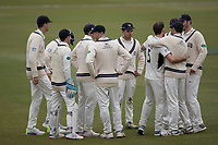 Middlesex players celebrate the first wicket to fall during Middlesex CCC vs Lancashire CCC, Specsavers County Championship Division 2 Cricket at Lord's Cricket Ground on 12th April 2019
