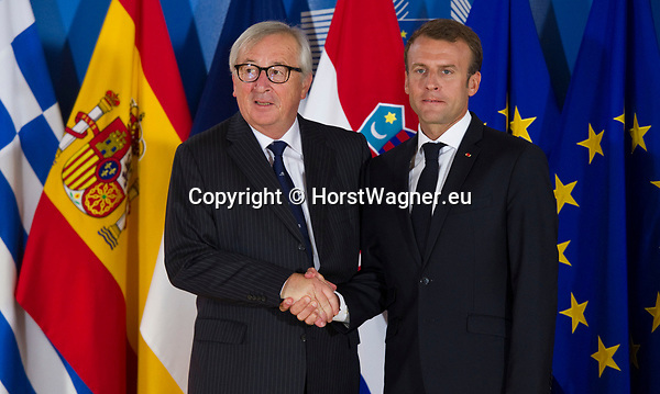 Belgium, Brussels - June 24, 2018 -- Informal working meeting on migration and asylum issues convened by Jean-Claude JUNCKER (le), President of the European Commission, here welcoming Emmanuel MACRON (ri), President of France -- Photo © HorstWagner.eu