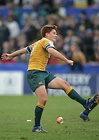Australian scrum half Jason Ryan kicks at goal during the clash 3rd/4th place clash at Ravenhill, Belfast. Result Australia 25 Wales 21.