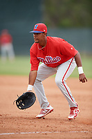 Philadelphia Phillies Edwin Rodriguez (30) during a Minor League Spring Training game against the Toronto Blue Jays on March 30, 2018 at Carpenter Complex in Clearwater, Florida.  (Mike Janes/Four Seam Images)