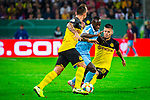 09.08.2019, Merkur Spiel-Arena, Düsseldorf, GER, DFB Pokal, 1. Hauptrunde, KFC Uerdingen vs Borussia Dortmund , DFB REGULATIONS PROHIBIT ANY USE OF PHOTOGRAPHS AS IMAGE SEQUENCES AND/OR QUASI-VIDEO<br /> <br /> im Bild | picture shows:<br /> Foulspiel Julian Weigl (Borussia Dortmund #33) an Christian Kinsombi (KFC Uerdingen #8), <br /> <br /> Foto © nordphoto / Rauch