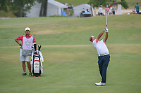 Hideki Matsuyama (JPN) hits his approach shot on 4 during round 3 of the AT&amp;T Byron Nelson, Trinity Forest Golf Club, at Dallas, Texas, USA. 5/19/2018.<br /> Picture: Golffile | Ken Murray<br /> <br /> <br /> All photo usage must carry mandatory copyright credit (&copy; Golffile | Ken Murray)