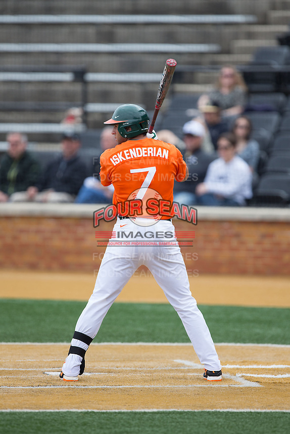 George Iskenderian (7) of the Miami Hurricanes at bat against the Wake Forest Demon Deacons at Wake Forest Baseball Park on March 22, 2015 in Winston-Salem, North Carolina.  The Demon Deacons defeated the Hurricanes 10-4.  (Brian Westerholt/Four Seam Images)