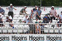 Spectators take evasive action as a Lewis Gregory of Somerset sends a six into the stand during Essex CCC vs Somerset CCC, Specsavers County Championship Division 1 Cricket at The Cloudfm County Ground on 25th June 2019