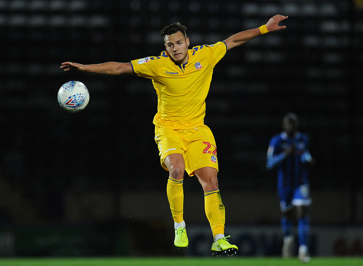 Bolton Wanderers' Dennis Politic watches on as the ball flies by<br /> <br /> Photographer Kevin Barnes/CameraSport<br /> <br /> EFL Leasing.com Trophy - Northern Section - Group F - Rochdale v Bolton Wanderers - Tuesday 1st October 2019  - University of Bolton Stadium - Bolton<br />  <br /> World Copyright © 2018 CameraSport. All rights reserved. 43 Linden Ave. Countesthorpe. Leicester. England. LE8 5PG - Tel: +44 (0) 116 277 4147 - admin@camerasport.com - www.camerasport.com