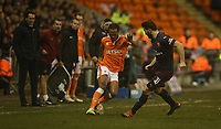 Blackpool's Nathan Delfouneso and Arsenal's Sead Kolasinac<br /> <br /> Photographer Stephen White/CameraSport<br /> <br /> Emirates FA Cup Third Round - Blackpool v Arsenal - Saturday 5th January 2019 - Bloomfield Road - Blackpool<br />  <br /> World Copyright © 2019 CameraSport. All rights reserved. 43 Linden Ave. Countesthorpe. Leicester. England. LE8 5PG - Tel: +44 (0) 116 277 4147 - admin@camerasport.com - www.camerasport.com
