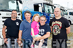 keep Trunkin<br /> ------------------<br /> L-R Michael 'Doc' Connolly, Jim Walsh, Leyia MaCrohan, Mia Lynch and Chris Birdsall at the Truck run in aid of Cystic Fibrosis at the Rose hotel, Tralee last Saturday.