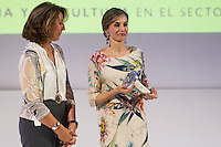 Spanish queen Letizia and General Secretariat of Industry and Small and Medium Enterprises, Begoña Cristeto during delivery spanish fashion national awards 2016 in the Museum of Costume in Madrid. July 21, 2016. (ALTERPHOTOS/Rodrigo Jimenez) /NORTEPHOTO.COM