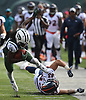 Andre Roberts #19 of the New York Jets makes an acrobatic move to stay on his feet and return a punt to the Denver Broncos' 10-yard line at the end of the third quarter of an NFL game at MetLife Stadium in East Rutherford, NJ on Sunday, Oct. 7, 2018.