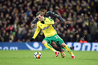 James Maddison of Norwich City under pressure from Michy Batshuayi of Chelsea during Norwich City vs Chelsea, Emirates FA Cup Football at Carrow Road on 6th January 2018
