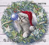 Marcello, CHRISTMAS ANIMALS, WEIHNACHTEN TIERE, NAVIDAD ANIMALES, paintings+++++,ITMCXM1778,#XA# ,Christmas wreath ,cat