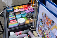A face painters colorful kit.