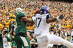 Baylor Bears wide receiver Ishmael Zamora (8) and TCU Horned Frogs safety Sam Carter (17) in action during the game between the TCU Horned Frogs and the Baylor Bears at the McLane Stadium in Waco, Texas. TCU leads Baylor 31 to 27 at halftime.