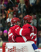 Trevor Yates (Cornell - 15), Patrick McCarron (Cornell - 27) - The Harvard University Crimson defeated the visiting Cornell University Big Red on Saturday, November 5, 2016, at the Bright-Landry Hockey Center in Boston, Massachusetts.