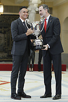 MADRID, SPAIN - JANUARY 10: Keylor Navas (L) recieves the National Sports Award 2017 from King Felipe VI of Spain (R) during the National Sports Awards 2017 at the El Pardo Palace on January 10, 2019 in Madrid, Spain.  ***NO SPAIN***<br /> CAP/MPI/RJO<br /> &copy;RJO/MPI/Capital Pictures