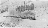 RGS K-27 #461 hauling stock cars between Matterhorn and Trout Lake.<br /> RGS  Trout Lake area, CO  Taken by Richardson, Robert W. - 9/26/1951