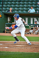 Matt Jones (40) of the Ogden Raptors at bat against the Grand Junction Rockies in Pioneer League action at Lindquist Field on September 3, 2015 in Ogden, Utah. Grand Junction defeated Ogden 16-8. (Stephen Smith/Four Seam Images)
