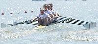 Brandenburg. GERMANY. GBR M4X. Bow. Angus GROOM, Sam TOWNSEND, Graeme THOMAS and Peter LAMBERT.<br /> 2016 European Rowing Championships at the Regattastrecke Beetzsee<br /> <br /> Friday  06/05/2016<br /> <br /> [Mandatory Credit; Peter SPURRIER/Intersport-images]