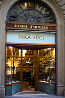 Window display of high class Procacci bar and coffee shop selling panini and tartufati in Via Tornabuoni, in Florence,Tuscany, Italy