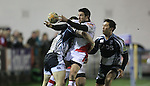 17 February 2012; Gavin Evans and Gavin Henson combine to stop Ian Humphreys,  Celtic League, Cardiff Blues v Ulster, Cardiff Arms Park, Cardiff, Wales..Picture credit: Steve Pope / SPORTINGWALES