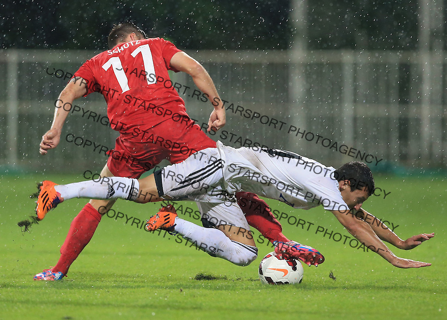 Fudbal Football Soccer<br /> UEFA Europa league-Second qualifying round, First leg<br /> Cukaricki v Grodig Austria<br /> Slavoljub Srnic (R) and Daniel Schutz<br /> Beograd, 07.17.2014.<br /> foto: Srdjan Stevanovic/Starsportphoto &copy;