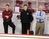 Mike Feeley (BC - Student Manager), Stephen Greenberg (BC - Student Manager), Jerry York (BC - Head Coach) - The Boston College Eagles defeated the University of Massachusetts-Amherst Minutemen 2-1 (OT) on Friday, February 26, 2010, at Conte Forum in Chestnut Hill, Massachusetts.