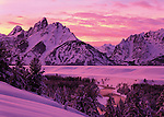 intense alpenglow over Teton Mountains, Grand Teton National Park, Wyoming