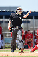 Umpire Jeb Bennett asks the base umpire for assistance on a swing during a game between the GCL Marlins and GCL Nationals on June 28, 2014 at the Carl Barger Training Complex in Viera, Florida.  GCL Nationals defeated the GCL Marlins 5-0.  (Mike Janes/Four Seam Images)