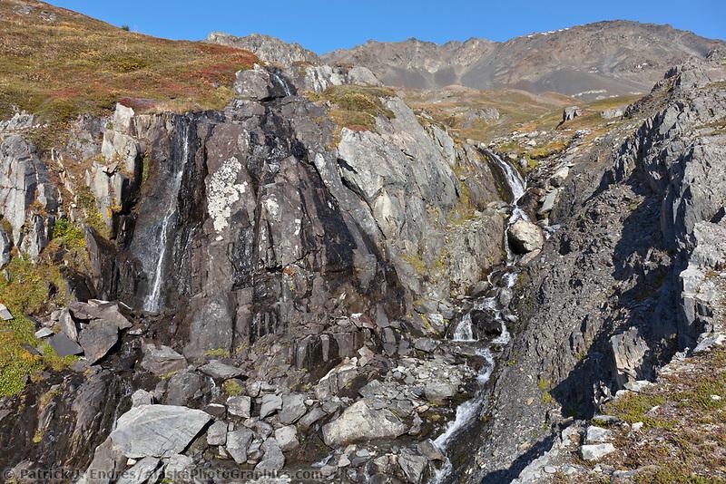 Waterfalls on the Kenai Mountain hillsides, Kenai Fjords National Park, Kenai Peninsula, southcentral, Alaska.