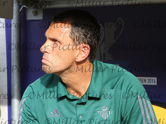 Real Betis Coach Gustavo Poyet before the Werder Bremen v Real Betis match in the Bundeswehr Karriere Cup Dresden 2016 played at the DDV Stadion, Dresden on 29.7.16.