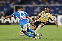 Elseid Hysaj of Napoli and Mohamed Fares of SPAL<br /> during the Serie A football match between SSC  Napoli and SPAL at stadio San Paolo in Naples ( Italy ), June 28th, 2020. Play resumes behind closed doors following the outbreak of the coronavirus disease. <br /> Photo Cesare Purini / Insidefoto