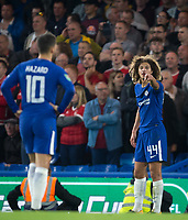 Ethan Ampadu of Chelsea (on his debut) gives Eden Hazard of Chelsea instructions during the Carabao Cup (Football League cup) 23rd round match between Chelsea and Nottingham Forest at Stamford Bridge, London, England on 20 September 2017. Photo by Andy Rowland.