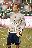 CARSON, CA – APRIL 30, 2011: Chivas USA goalie Dan Kennedy (1) before the match between Chivas USA and New England Revolution at the Home Depot Center, April 30, 2011 in Carson, California. Final score Chivas USA 3, New England Revolution 0.