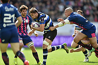 Elliott Stooke of Bath Rugby goes on the attack. European Rugby Challenge Cup Semi Final, between Stade Francais and Bath Rugby on April 23, 2017 at the Stade Jean-Bouin in Paris, France. Photo by: Patrick Khachfe / Onside Images