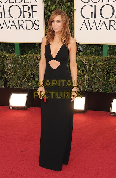 Kristen Wiig.Arrivals at the 70th Annual Golden Globe Awards held at the Beverly Hilton Hotel, Hollywood, California, USA..January 13th, 2013.globes full length dress black clutch bag cut out away low cut plunging neckline cleavage .CAP/GAG.©GAG/Capital Pictures