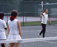 American tennis coach Nick Bolleteri instructing students on court at the Hopman Bollettieri Adult Tennis Camp, Amherst Mass, 1972. CREDIT: JOHN G. ZIMMERMAN